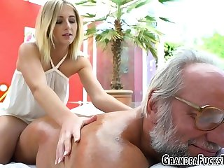 cumshot blonde Teen masseuse rides oldie