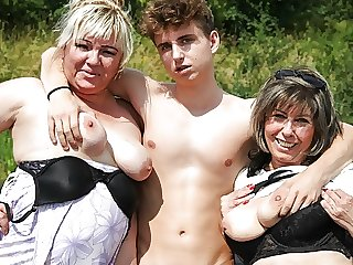 cumshot amateur Horny Grandmas Take Hitchhiker for a Ride
