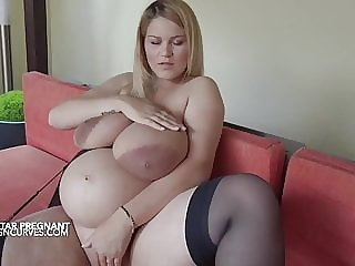 bbw blonde Bursting with milk at 9 months