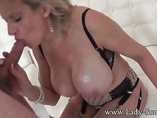 handjob blowjob Lady Sonia used by masked guy - blowjob and cum on tits
