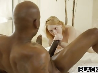 redhead blowjob BLACKED Blonde Babysitter Trillium Fucks her Black Boss