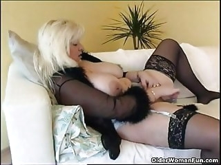 stockings mature Chubby housewife in stockings plays with new sex toy