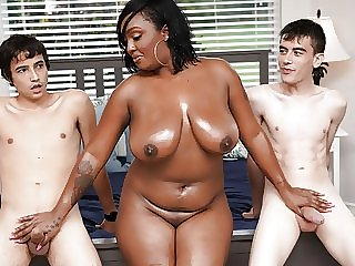 old & young interracial Ebony Mom Having Fun With Stepson and His Friend
