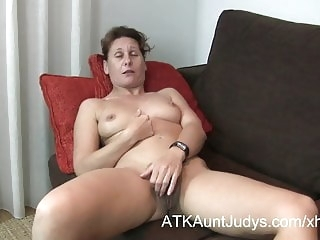 hairy amateur 47-year old shy Milf Inge spreads her legs
