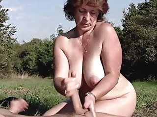 mature bbw Brunette BBW-Milf Outdoors by Young Guy